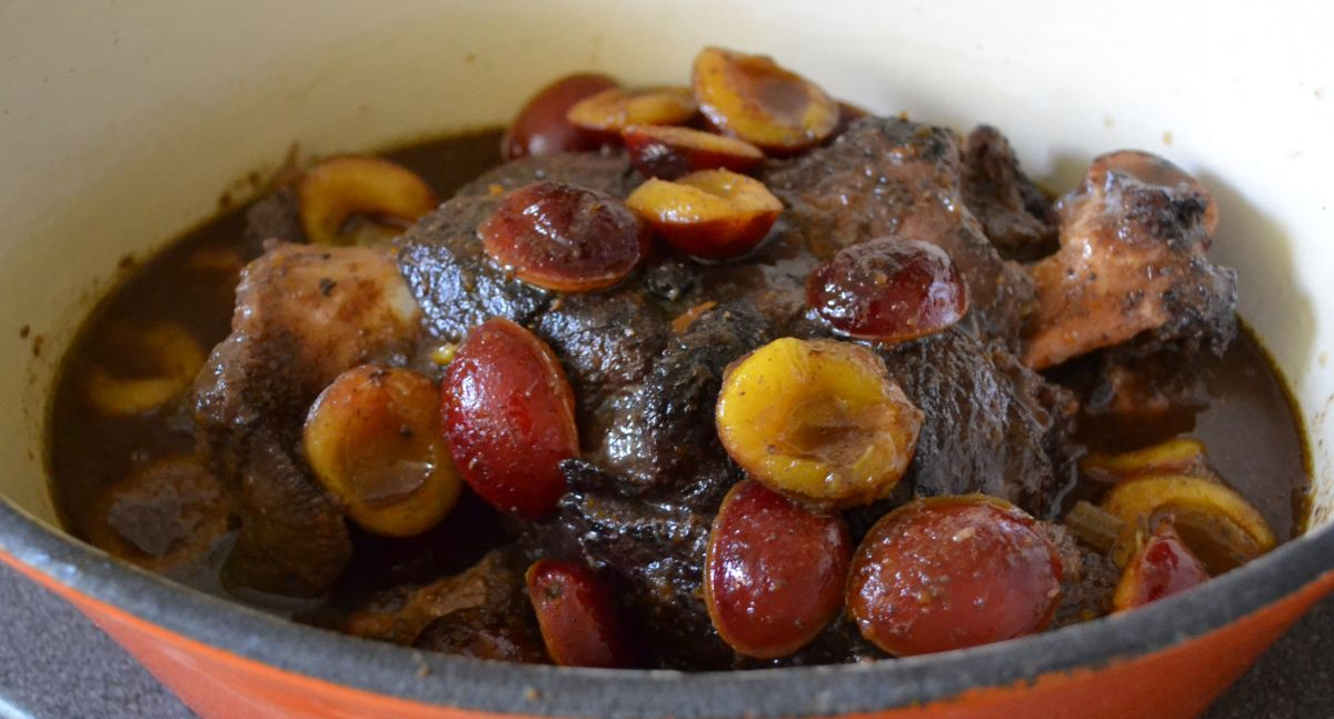 Braised Shoulder of Venison with Damsons and Juniper