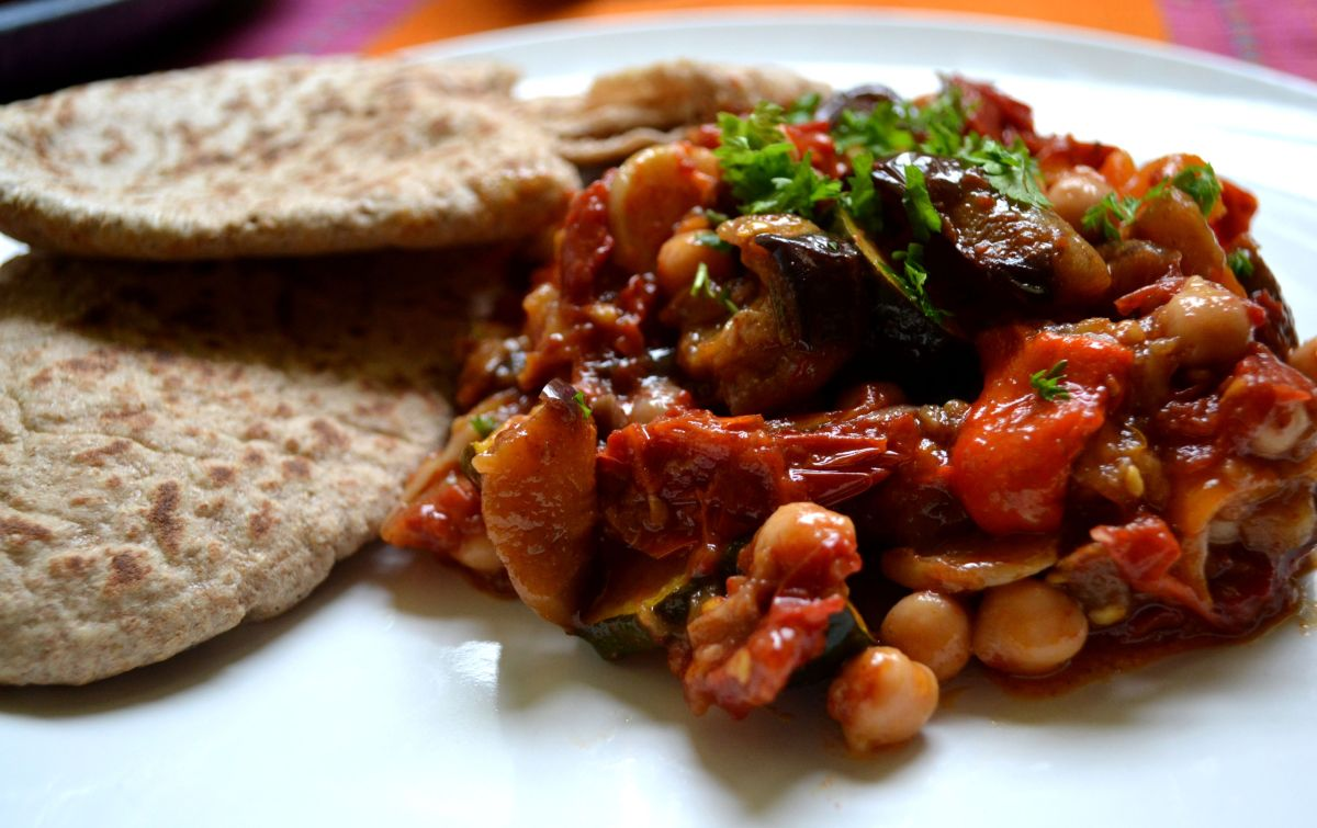 Aubergine, Slow-Roasted Tomato, and Chickpea Tagine