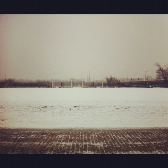 Cold, instagrammed, looking towards the river