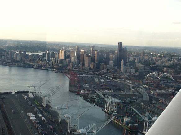 Seattle, as seen from a tiny plane.